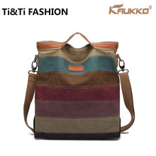2016 Original KAUKKO Crossbody Bag 2016 New Women Messenger Bags Canvas Small Fashion Retro Handbag Crossbody Stripe Bag