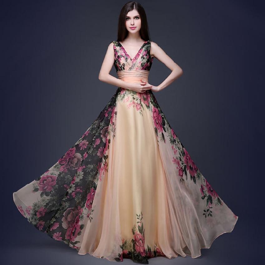 3D Designs Spaghetti Strap Floral Print maxi dress Evening Gowns Floor  Length vestidos de festa Chiffon Flower Long Party Dress 5ef4c2f267aa