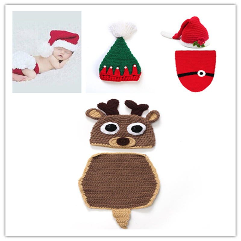 Christmas Cute Crochet Knit Costume Prop Outfits Photo Photography Baby ear Hat Photo Props New born baby girls Cute Outfits cute newborn baby girls boys crochet knit costume photo photography prop outfit one size baby bodysuit hat 2pcs