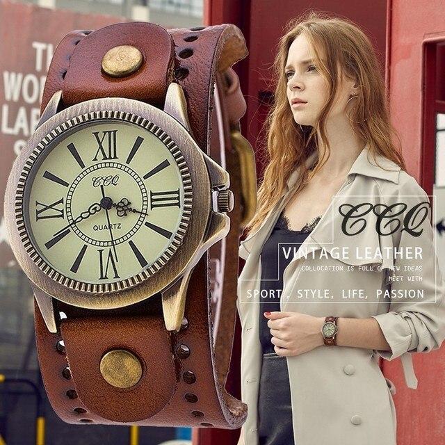 CCQ Brand Men Women Vintage Cow Leather Bracelet Wristwatches Casual Luxury Male