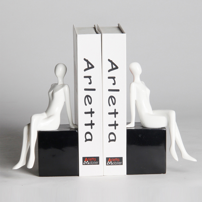 Modern Creative resin lady bookend statue home decor office crafts study room decoration object character girls figurine