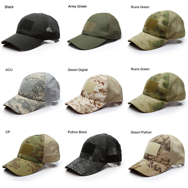 Desert Digital Male Tactical   Baseball     Cap   CP Camouflage Breathable Net Hats For Men Hook And Loop Badge Patch Bone Pytho Ruins
