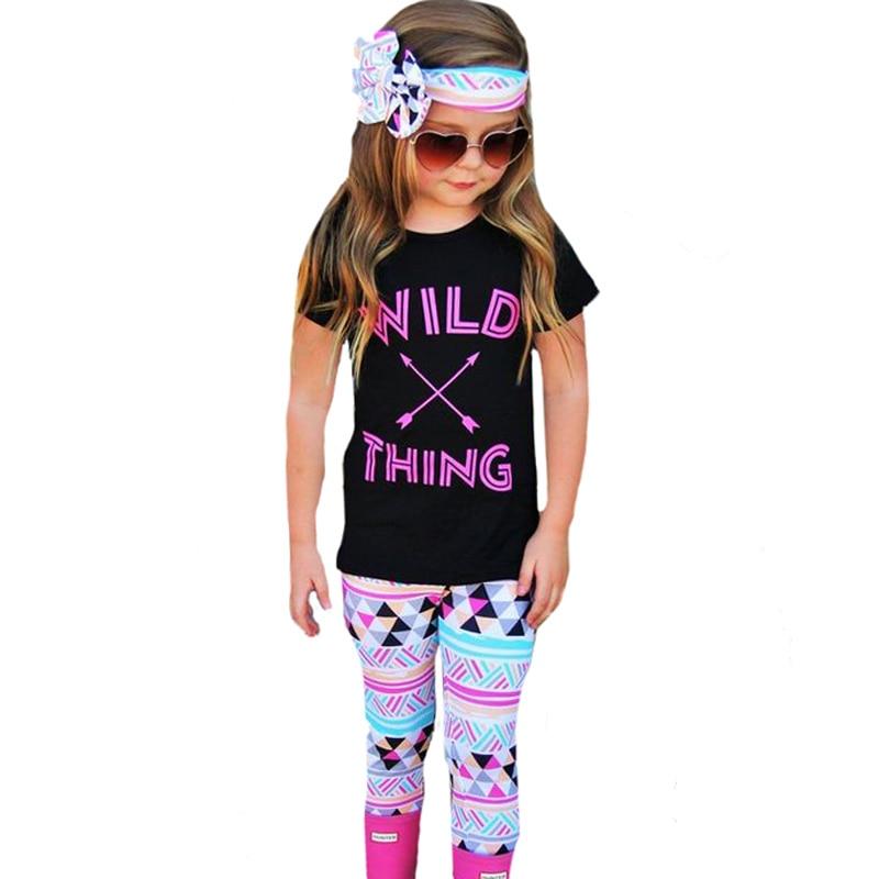 SOSOCOER Baby Girl киім жиынтығы Fashion Arrow T Shirt + - Балалар киімі - фото 6