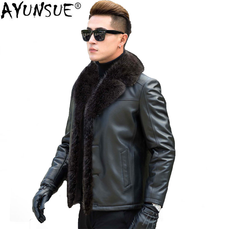 AYUNSUE Leather Jacket Men Real Raccoon Fur Collar Wool Liner Second Layer of Sheepskin Coat Men Leather Jackets <font><b>A2018</b></font> MY729 image