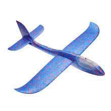 Hand Throwing 48cm Aircraft  Launch Airplane DIY Inertial EPP Plane Colorful Toy With LED Light Children Kids Outdoors Fun