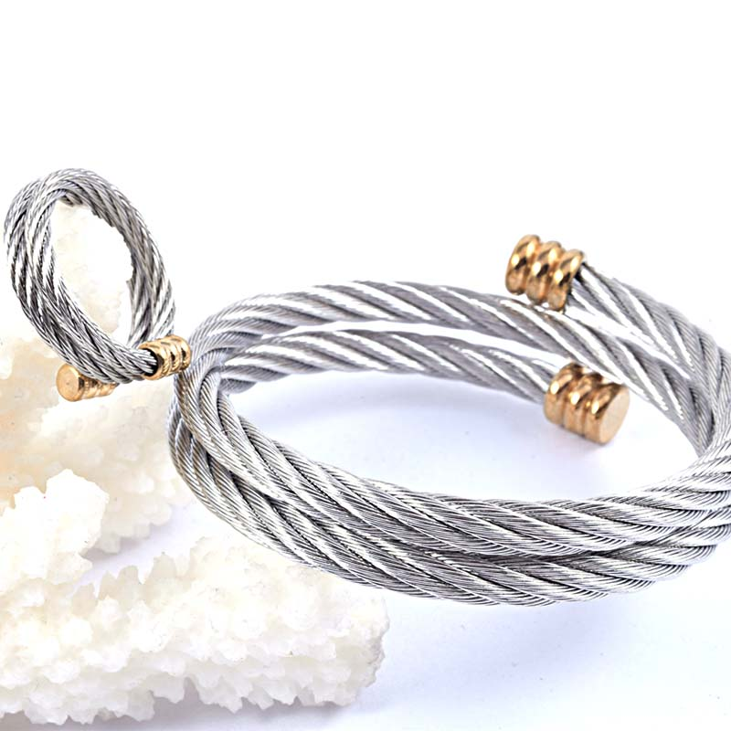 Fashion Twist Cable Jewelry Silver Stainless Steel Double Layer ...