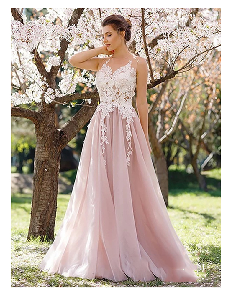 2019 Sexy Pink Wedding Dress Scoop Neck A-line Cheap Bridal Gown Illusion Vestido De Noiva Floor Length Wedding Gowns