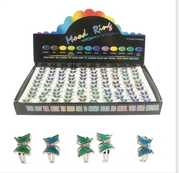 Super Butterfly mood ring change color ring mix size changes color to the temperature of your blood 100pcs/lot-in Rings from Jewelry & Accessories    3