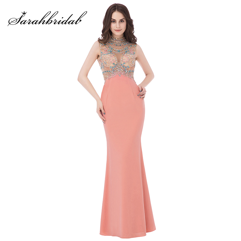 Sexy Illusion Beading Crystal Celebrity Dresses Coral Jersey High Neck Special Occasion Dress Long Mermaid Red Carpet Gown OL291