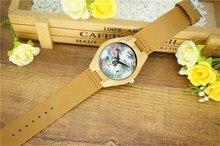Skull Flower Design Wooden Wristwatch