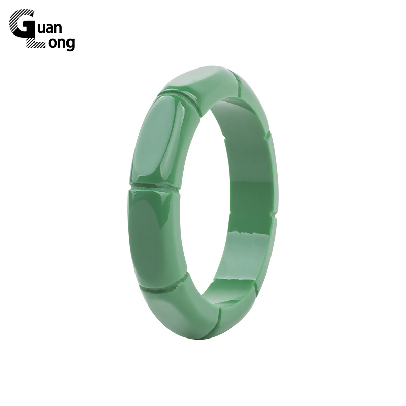 GuanLong Fashion Resin Sculptate Bambus Pattern Bangle 2017 Collection Femme Bangles Bratari Puseiras Bijuterii