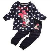 2017 HOT Baby Girls Minnie Print Long Sleeve Tops T Shirt Pants 2Pcs Outfits Set