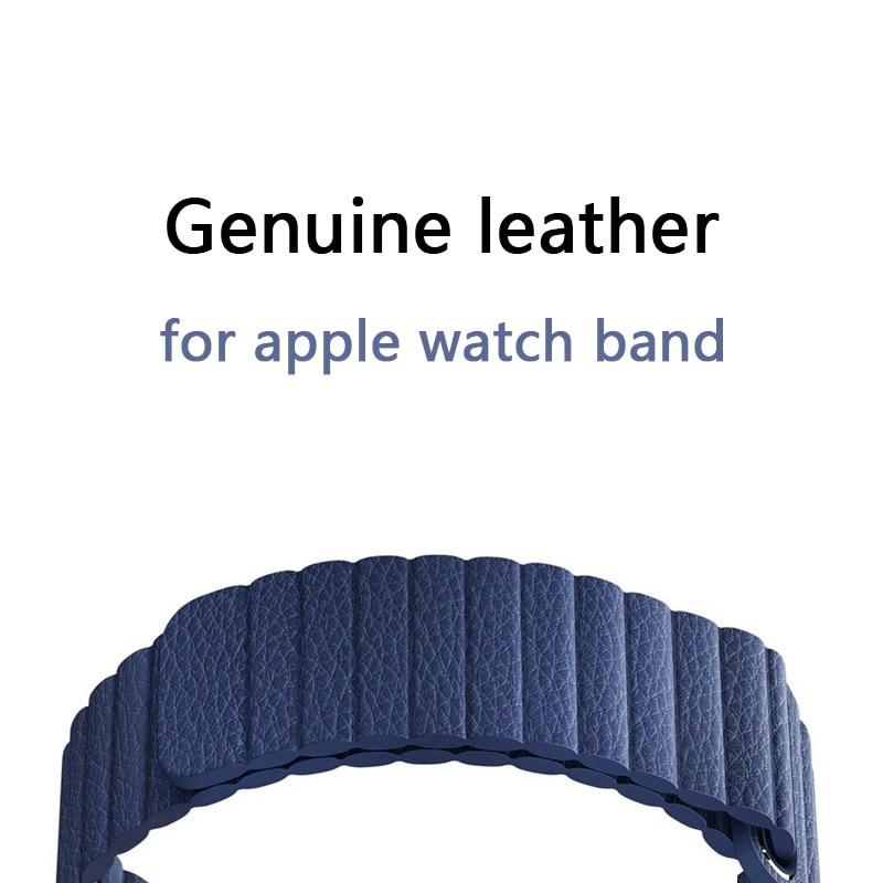 FOHUAS Einstellbare Magnetische Echtem leder schleife band für apple uhr band 42mm 38 armband Verschluss Schleife Schwarz blau braun