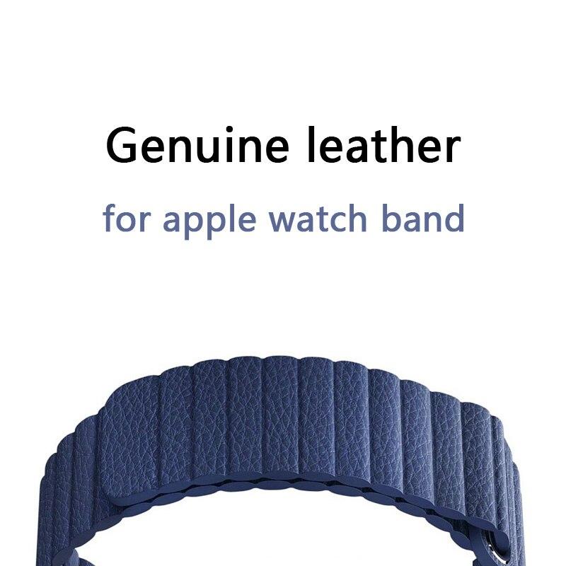 FOHUAS Réglable Magnétique Véritable cuir boucle bande pour apple watch bande 42mm 38 sangle bracelet Fermeture Boucle Noir bleu brun