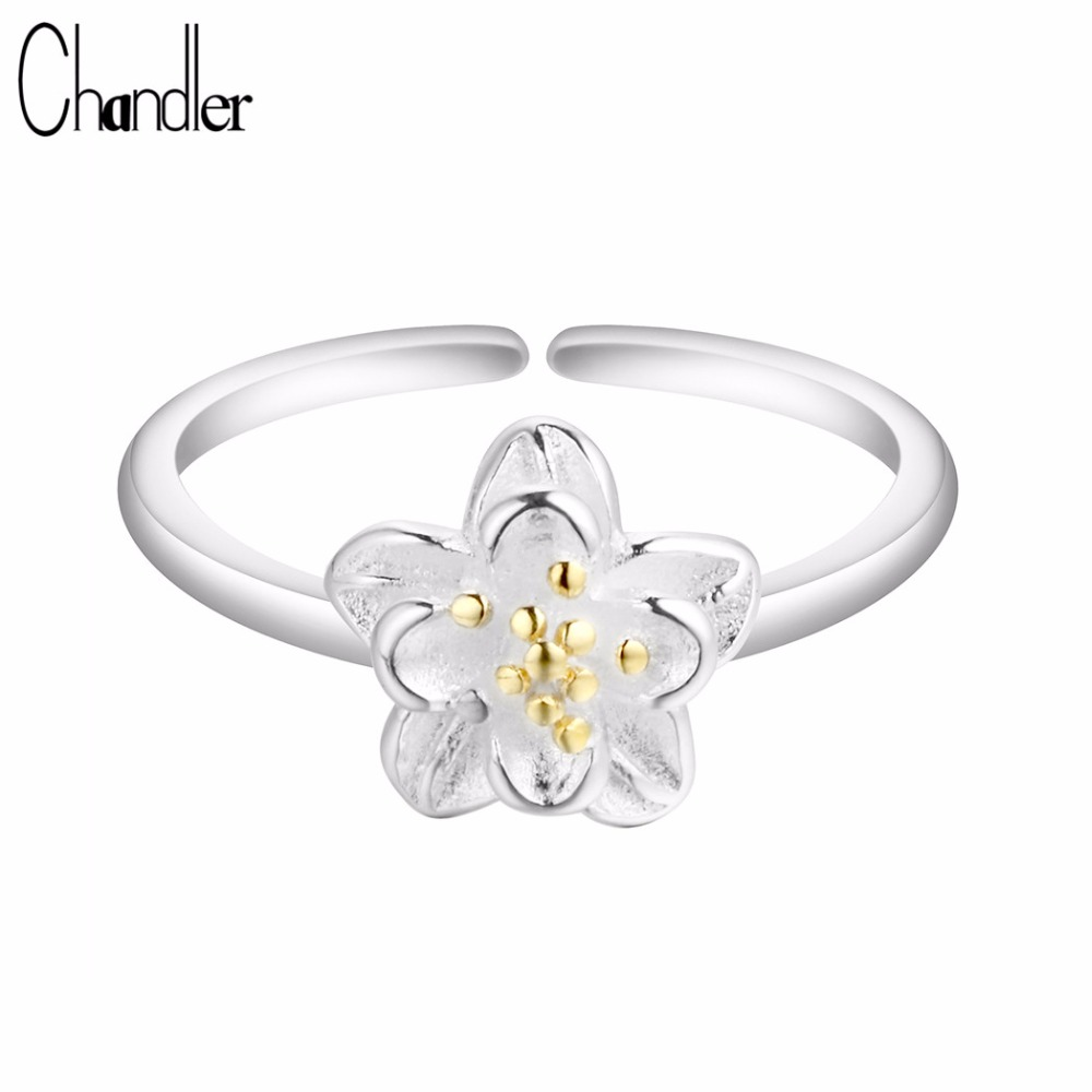 Gold toe rings for women - Chandler New 925 Sterling Silver Jewelry Flower Rings Justable Pinkie Feet Toe Bague For