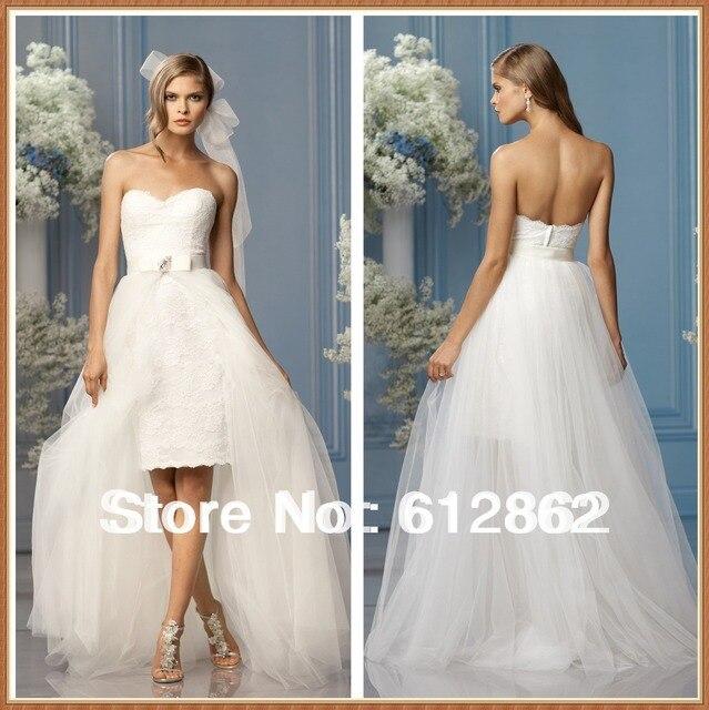 sin tirantes de encaje a corto vestido vestido de novia desmontable