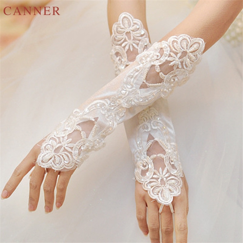 1 Pair Fingerless Lace Sequins Appliques Bridal Gloves White Ivory Wedding Accessories Luva De Noiva C4