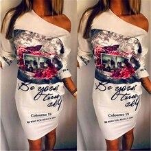 2018 Новое поступление Мода Плюс Размеры Женская одежда, Женский Цветочный принт Платья для вечеринок пикантные косой шеи Половина рукава платья