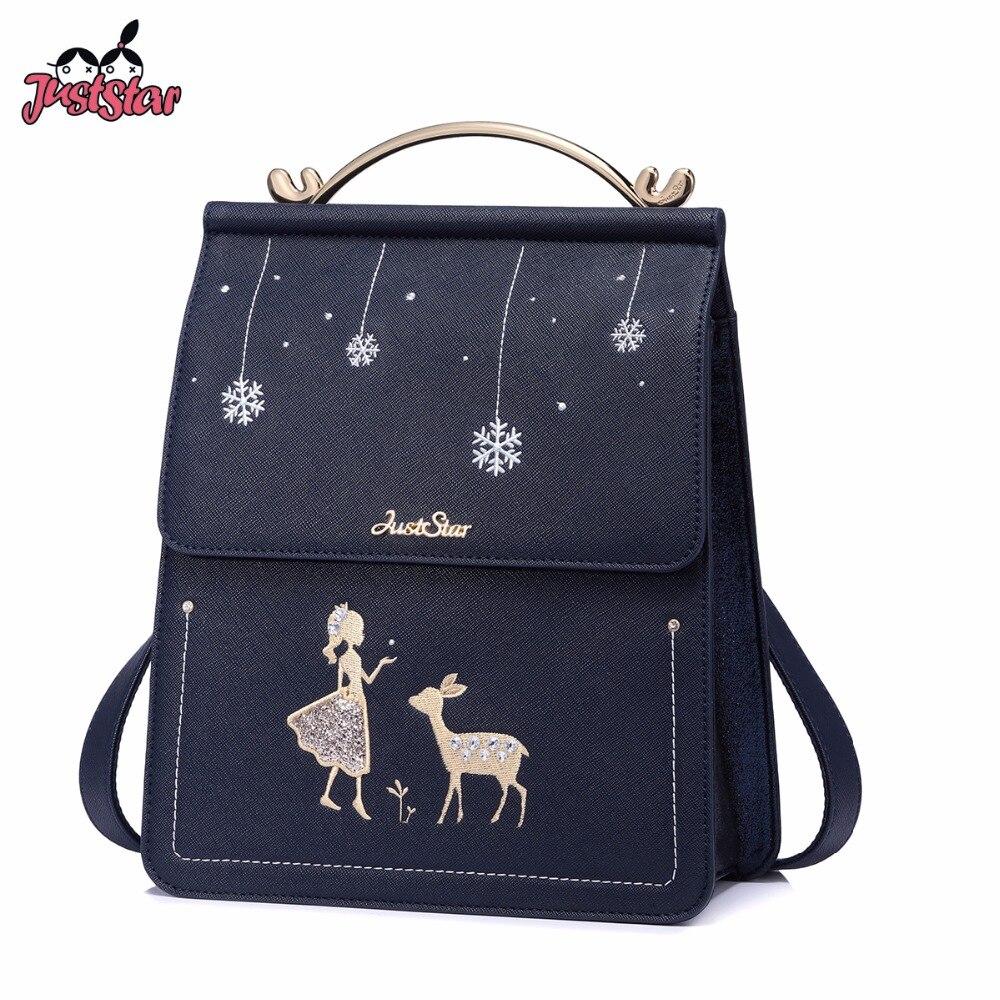 Just Star Women's Backpack Ladies Pu Leather Cartoon Deer & Girl Travel Shoulder Bags Female Embroidery Leisure Backpack Jz4593