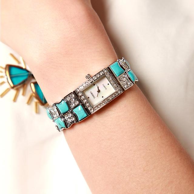 TIME100 Luxury Women's Bracelet Watch Jewelry Clasp Alloy Strap Turquoise Shell Rhinestone Quartz Dress Watches relogio feminino