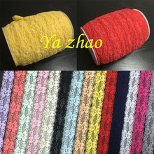 """1"""" Elastic Lace Trim By Yard 50yard/lot 14 color IN stock Free shipping"""