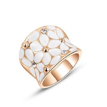 Romad Flower Design Ring Luxury White Rose Gold Color ring for Women Crystal Bijoux Jewellery  Wedding Engagement gift Z4
