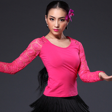 Free shipping,new fashion Sexy lace long-sleeve Latin dance clothes top for women/female/girl/lady, vogue O-neck slim upperwear
