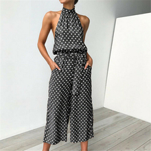 Women Summer Jumpsuit Dot Sleeveless Romper Holiday Party Jumpsuit Casual Halter Ladies Jumpsuits Woman Playsuit Streetwear trendy halter sleeveless black jumpsuit for women
