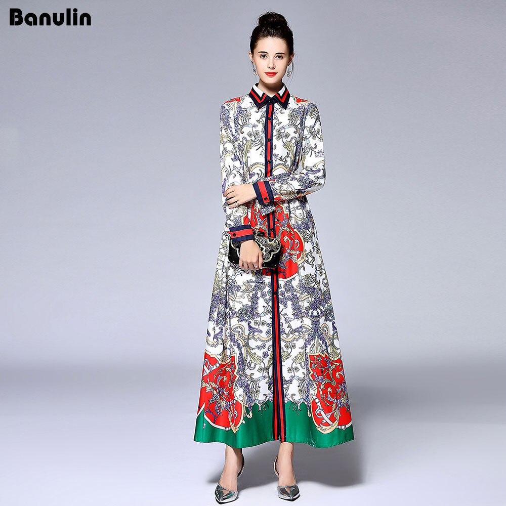 Banulin New 2018 Autumn Runway Maxi Dress Women's Long Sleeve Bow Belt Side Split Gorgeous Floral Print Loose Vintage Long Dress