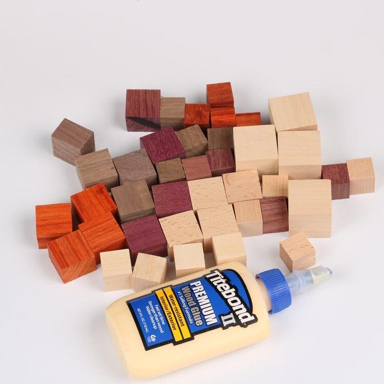 50 pcs lot blocs bois bricolage bois 2 cm cubes blocs carrés blocs bois massif artisanat bois blancs - 2