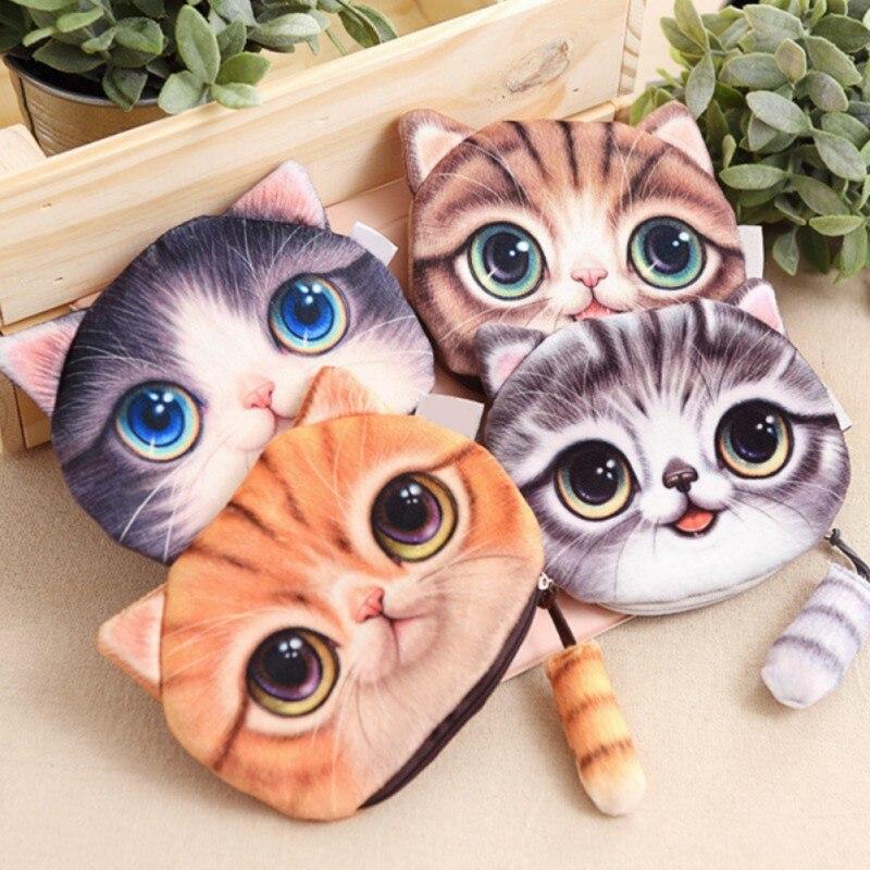 2019 Fashion Women Casual card Purses Clutch Small Tail Cat Coin Burse Cute Kids Cartoon Wallets Bag Pouch Children Holder