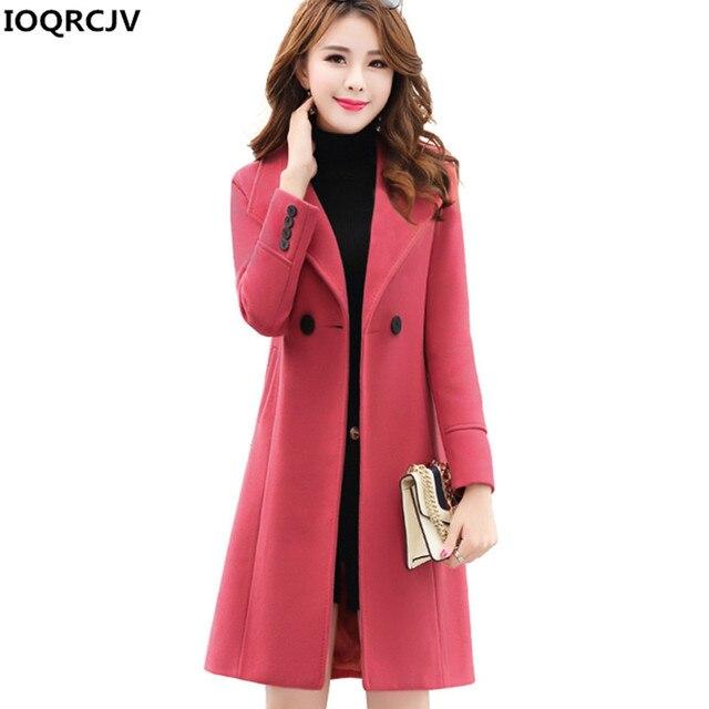 529dc4f4a3558 IOQRCJV 2018 New Woman Woolen Coat High Quality Winter Jacket Women Slim  Wool Blend Long Outerwear