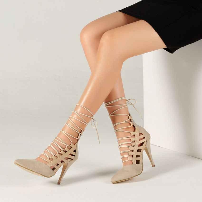 2019 di Nuovo Modo Sottile Scarpe Tacchi Delle Donne Sexy Delle Pompe Scarpe da Donna Cinturino Alla Caviglia Super-Tacchi Alti Scarpe Da Donna In Pizzo up Nero Nudo