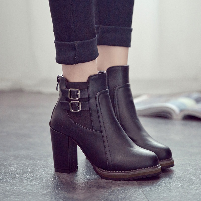 Women High Boots Leather Chelsea Boots B