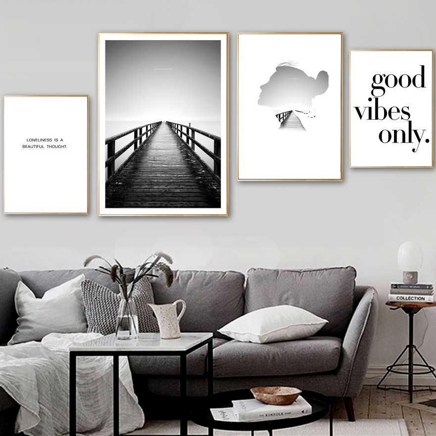 Abstrait fille pont paysage citations mur Art toile peinture nordique affiches et impressions mur photos pour salon décor