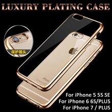 Chapeamento ultra fino cristal caso claro para o iphone 7 7 plus 6 6 s mais 5 5S SE Capa Fundas Capa Transparente Macio Saco Do Telefone Covers