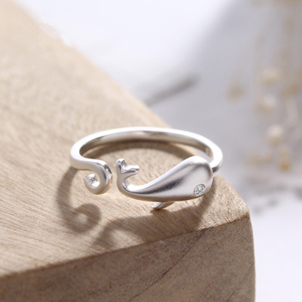 New Listing color silver matte aesthetic opening whales live on female ring Korean jewelry sweet gift