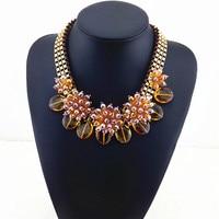 Brown Big Flower Crystal Necklaces Pendants Costume Accessories Women Elegant Fashion Necklace Bib Choker Statement Necklace