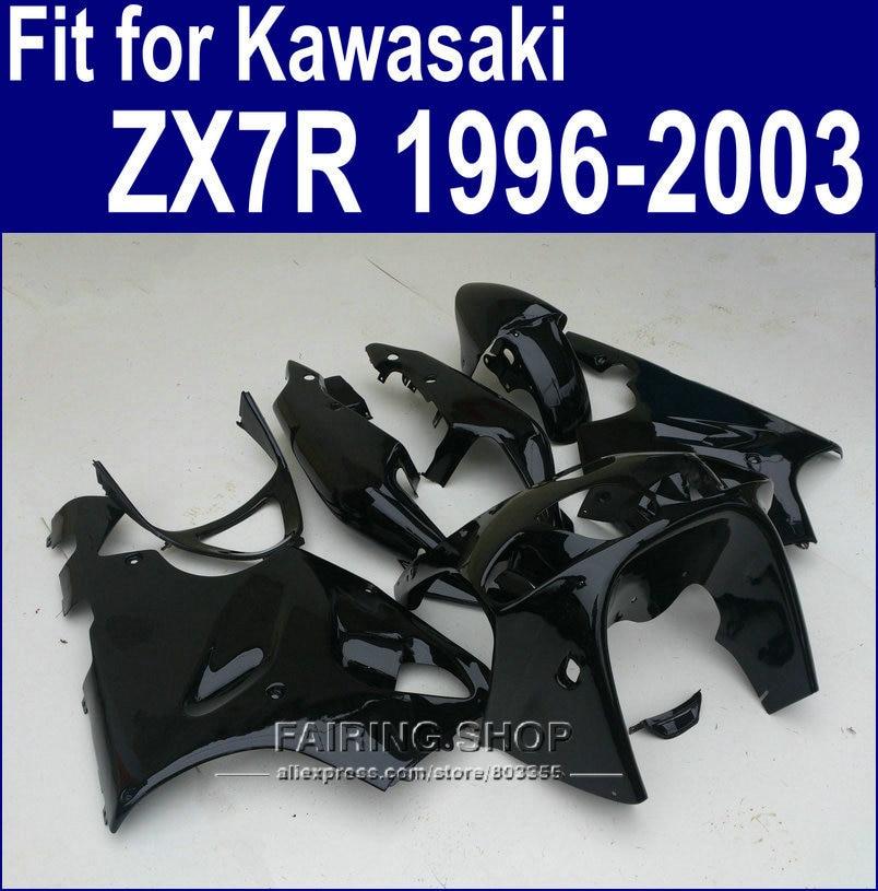 Todo pintado de Preto Carenagens Para Kawasaki ninja ZX7R 1996 1997 1998 2002 2003 (personalizado gratuitamente) 96 01 02 03 kit Carenagem a35