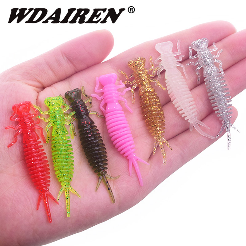 10PCS Silicone Fishing Lures 55mm 1.2g Soft Lure Pesca Artificial salt odor Bait Crazy Flapper Carp Wobblers For Fishing Tackles