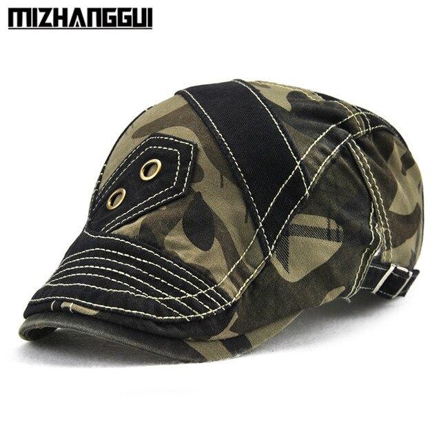 67fd452fb4e Patchwork Camouflage Men Hat Cool Vintage Visor Beret Hats Adjustable  Outdoor Travelling Men s Cap Men Hat with A Visor