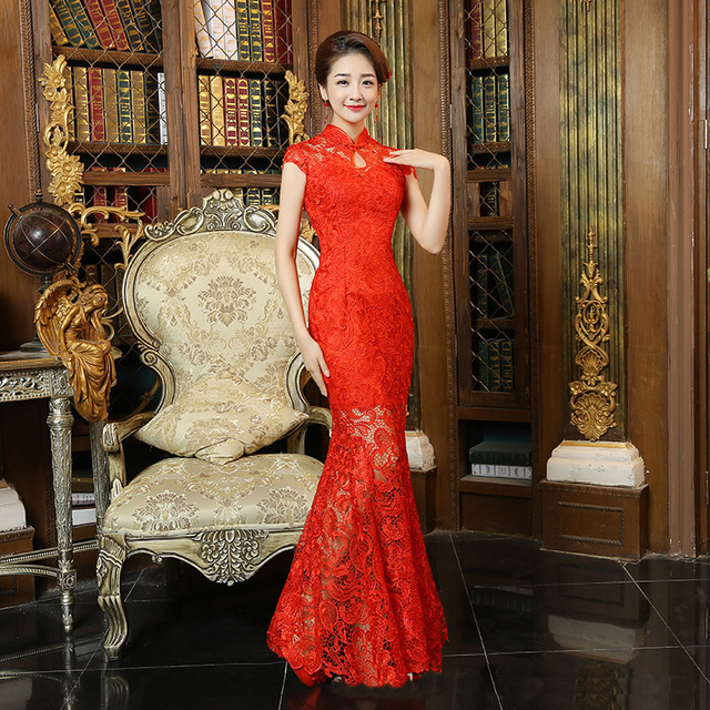 Hot Sale 2016 Red Lace Cheongsam Dress Bride Wedding Qipao Chinese Traditional Dress Chinese Oriental Dresses Long Qi Pao
