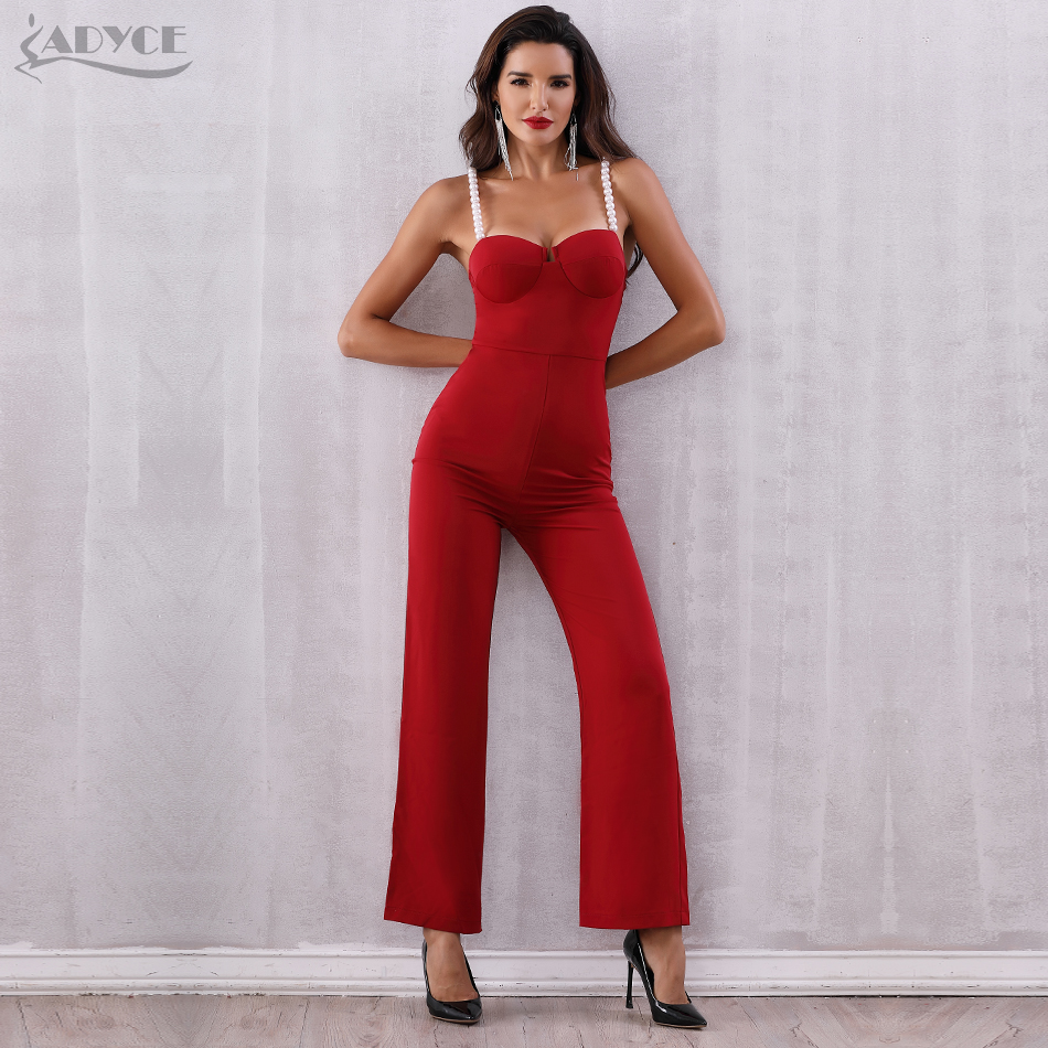 Adyce 2018 New Summer Women Jumpsuits Rompers Elegant Red Sexy Strapless  Pearls Beading Jumpsuit Celebrity Party Club Bodysuits-in Jumpsuits from  Women s ... 233ca616a85d