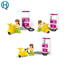 Sluban Gas Station Girl Motorcycle Building Blocks Compatible with Legoelieds Playmobil Educational Toys for Children