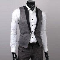 2017 new men's suits men slim fashion vest dress sleeveless wool vest formal business casual groom groomsman homens colete 5893
