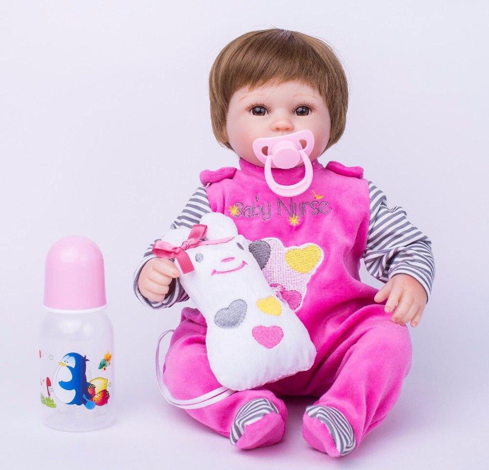 40cm Soft Body Silicone Reborn Baby Doll Toy For Girls Vinyl Newborn Girl Babies Dolls Kids