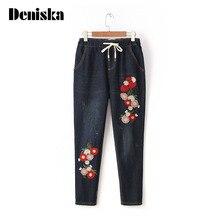 2017 новая мода джинсы женщин высокой талии брюки джинсовые прямо сторона вышивка цветок печатных черный брюки Клеш