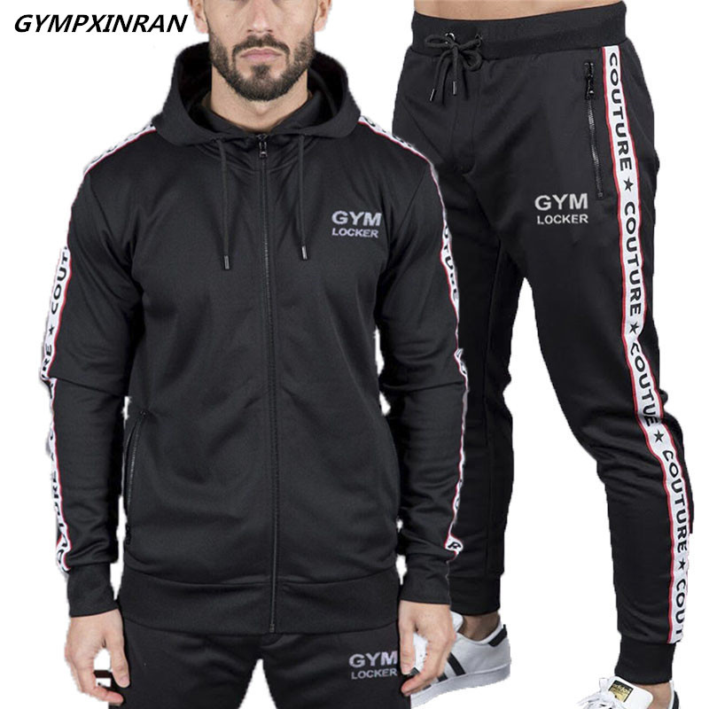 Gympxinran New Model Males's Sportwear Swimsuit Sweatshirt Tracksuit Hoodie Males Informal Lively Swimsuit Zipper Outwear Jacket+Pants Units