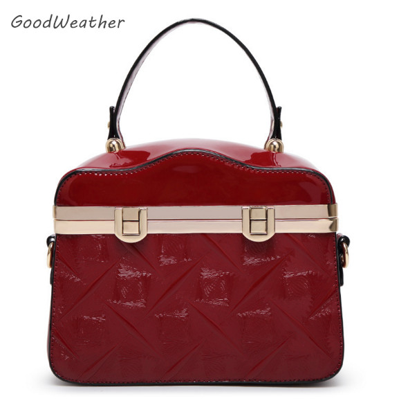 Designer Small Women S Plastic Patent Leather Handbag High Quality Wine Red Pu Bags For Las Fashion Female Tote Bag 3colors In Top Handle From