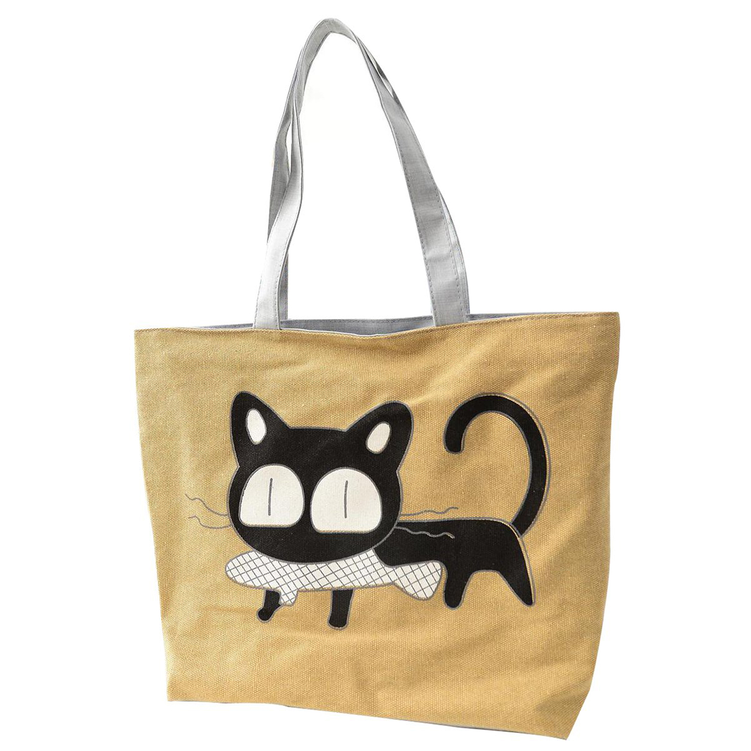Girl cat eat fish shopping bag Shoulder Women Handbags beach tote bags handbags yellow